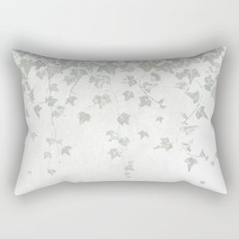 Soft Gray Green and White Trailing Ivy Leaf Print Rectangular Pillow