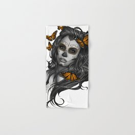 Sugar Skull Tattoo Girl with Butterflies Hand & Bath Towel