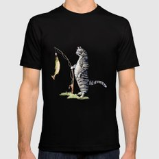 Cat with a Fish MEDIUM Black Mens Fitted Tee