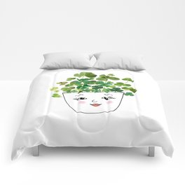 Shamrock Face Vase Comforters