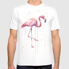 Pink Flamingo Portrait Watercolor Animals Birds | Facing Right White Mens Fitted Tee X-LARGE