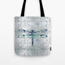 Gemstone Dragonfly on sacred geometry pattern Tote Bag