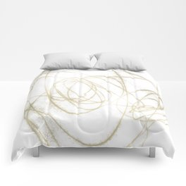 Beige and Brown Minimalist Abstract Line Drawing Comforters
