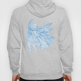 Beautiful Feathers on Blue Marble Design Hoody