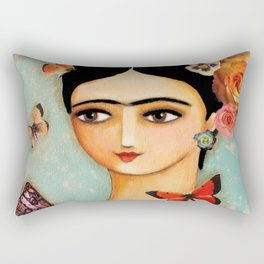 Frida Collage with Butterfly and Rose Rectangular Pillow