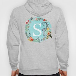 Personalized Monogram Initial Letter S Blue Watercolor Flower Wreath Artwork Hoody