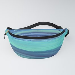 Shades of Blue Abstract Stripes Fanny Pack
