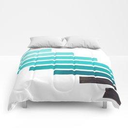 Blue Teal Turqoise Midcentury Modern Minimalist Staggered Stripes Rectangle Geometric Aztec Pattern Comforters