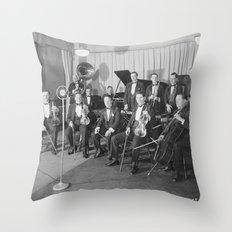 Vintage black and white photo of orchestra Throw Pillow