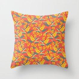 Block print Flowers Throw Pillow