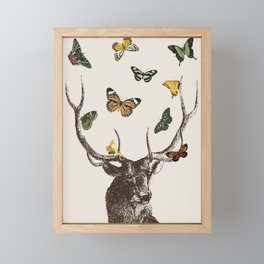 The Stag and Butterflies Framed Mini Art Print