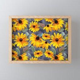 Black-eyed Susan Pattern Framed Mini Art Print