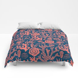 Modern nautical navy blue living coral floral Comforters