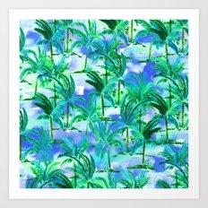 Palm Tree Blue Green Art Print