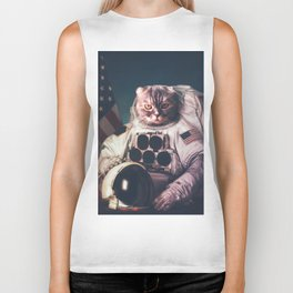 Beautiful cat astronaut Biker Tank
