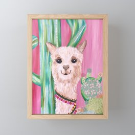 Smiling Alpaca with Cacti Framed Mini Art Print