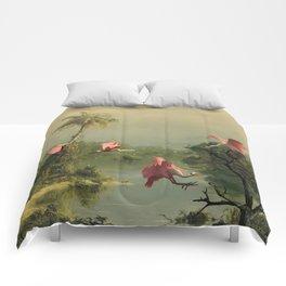 Spoonbills in the Mist Comforters