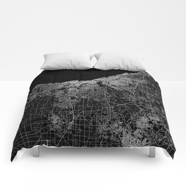 Cleveland map Ohio Comforters