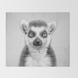 Lemur 2 - Black & White Throw Blanket