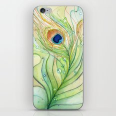 Peacock Feather Green Texture and Bubbles iPhone & iPod Skin