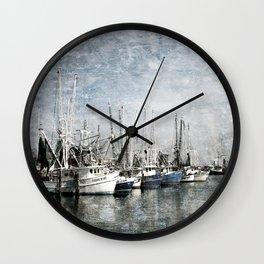 Shrimp Boats at the Pass Harbor Wall Clock