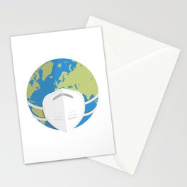 Planet Earth using a face mask Stationery Cards