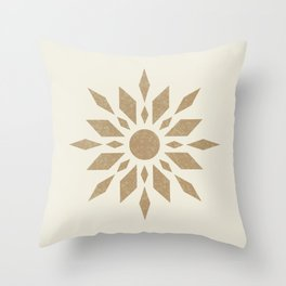 Sunburst Retro - Gold Throw Pillow