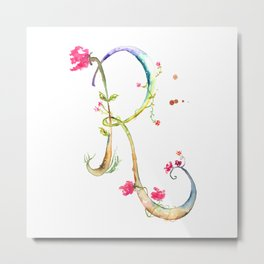 Letter R watercolor - Watercolor Monogram - Watercolor typography - Floral lettering Metal Print