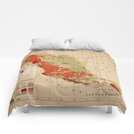 Vintage Geological Map of Mexico (1921) Comforters
