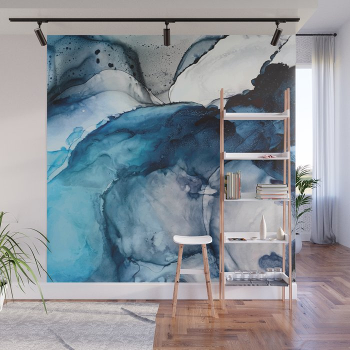 White Sand Blue Sea - Alcohol Ink Painting Wall Mural