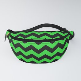 Large Black and Bright Monster Green Halloween Chevron Stripes Fanny Pack