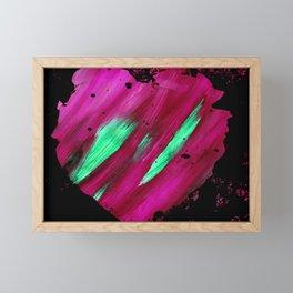 Magenta Abstract Heart Splatter Painting Magenta Red Crimson Green Black Framed Mini Art Print