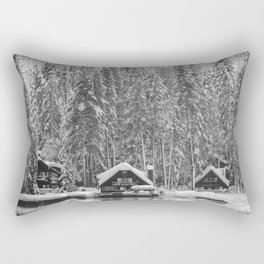 Cabin on the Water (Black and White) Rectangular Pillow