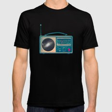 Space Radio Black SMALL Mens Fitted Tee