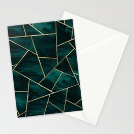 Dark Teal Ink Gold Geometric Glam #1 #geo #decor #art #society6 Stationery Cards