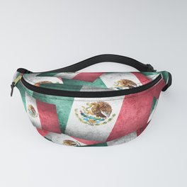 Grunge-Style Mexican Flag Fanny Pack