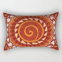 Retro Abstract 60s 70s Polynesian Tattoo Design Vintage Red Rectangular Pillow