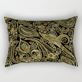 Black and gold ethnic paisley pattern Rectangular Pillow