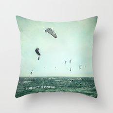Summer dreams. Kite surf Throw Pillow
