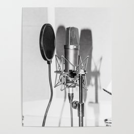 Microphone black and white Poster
