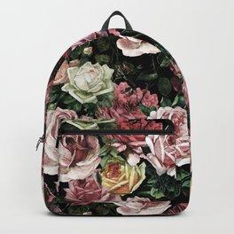 Vintage & Shabby chic - dark retro floral roses pattern Backpack