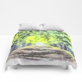 Forest Path Watercolour Art Comforters