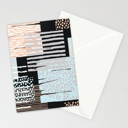Modern abstract overlapping geometric shapes pattern Stationery Cards