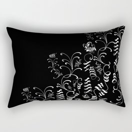 Delicate and Abstract Black and White Leaf Decor Rectangular Pillow
