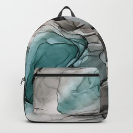 Smoky Grays and Green Abstract Flow Backpack