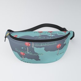 English Channel Nautical Map Fanny Pack