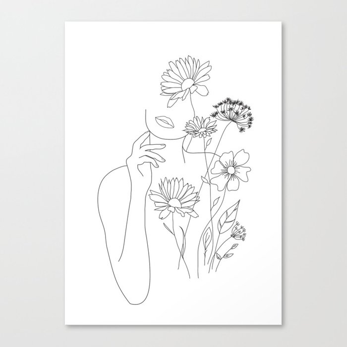Minimal Line Art Woman with Flowers III Leinwanddruck