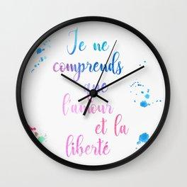 Je ne comprends que l'amour Wall Clock