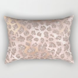 Rosegold Blush Leopard Glitter Rectangular Pillow