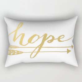 Gold Quote Hope Brushstroke Watercolor Ink Typography Classic Calligraphy Peace Rectangular Pillow